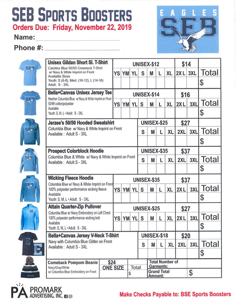 SEB Sports Boosters Fundraiser Apparel