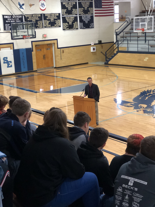 Mr. Blaine Wilhour speaking to the student body