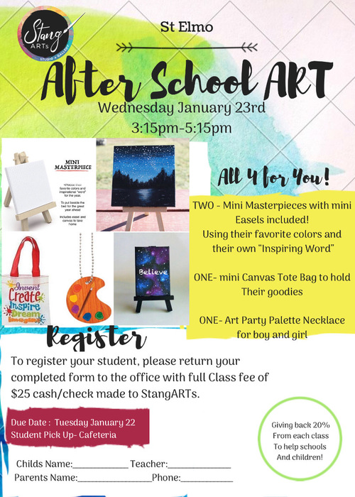 1-23-19 Stang After School Art Class for students 1st to 6th grade