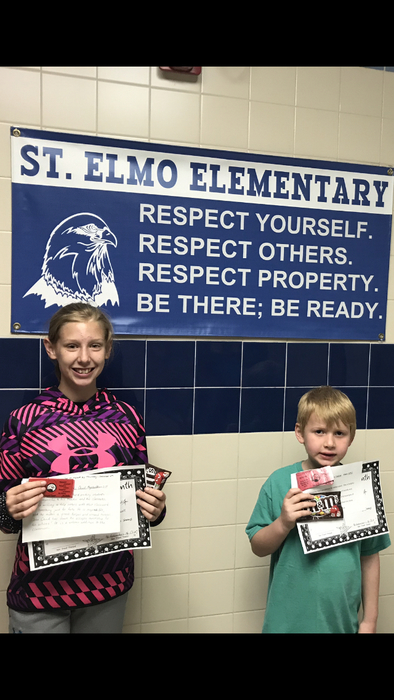 Elementary Student of the Month Awards go to Hailie Yagow and John David Megenhardt....congratulations!