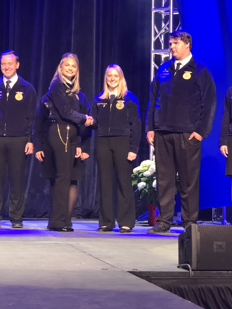 SEB FFA member, Makenzie Parkison, on stage at Illinois FFA Convention today.