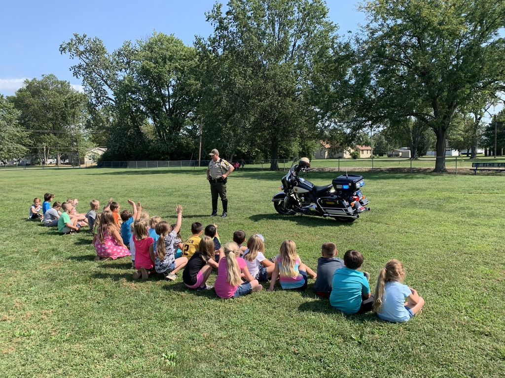 Students enjoyed a special visitor today. Trooper Zerrusen visited first grade to explain his job as a community helper.